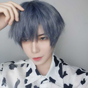 Short Wigs Mixed Blue Bangs Straight Synthetic Heat Resistant Men's Hair for Women Cosplay Anime Halloween Party
