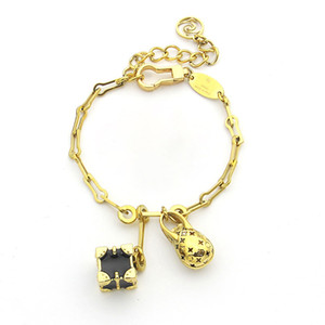 New high quality fashion brand bracelet 316L titanium steel bracelet double pendant bracelet come with box suitable for couples gifts