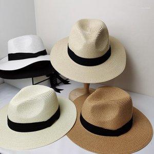 Yaz Moda Beyaz Düz Ağız Geniş Brim kadın Strawhat kadın Caz Fedoras Şapka Güneş Gölgelendirme Şapka Beach Cap Summer1