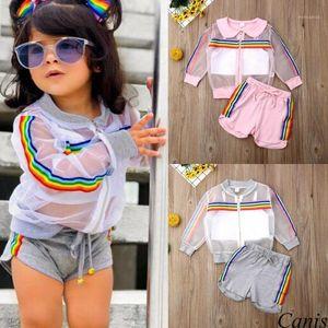 Pudoco Girl Set 1y-7y EE. UU. Niño recién nacido bebé niña manga larga abrigo + chaleco + pantalones cortos ropa de vestir de verano1