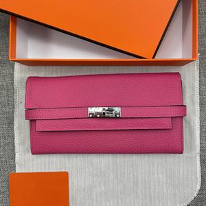 Originales Bolsa de diseñador de calidad Señora Kelly Media Plegable Bolsos Bolsos Bolso Monedero Tarjetas de cuero genuino Bolsos Black Pink Breast Wallets con caja