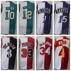 Bölünmüş Iki Renk Basketbol Forması Allen Iverson Scottie Pippen Hakeem Olajuwon Tracy McGrady Vince Carter Mike Bibby Spud Webb Ja Morant