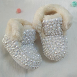 Newborn Baby Rhinestones bling snow boots Infant Cotton Shining Pearl Decoration baby girls Boots Shoes Autumn Winter1