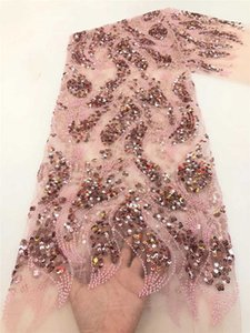 Hig-End Quality Luxury Cassic Sequince Lace Elegant African Bead Tube tulle Fabric for Wedding Dress NN628-x
