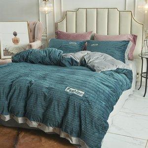 Thick AB Side New Magic Velvet Fleece Bedding Set 4pcs Duvet Cover Flat Sheet Pillowcase Flannel Winter Warm Bed Linen