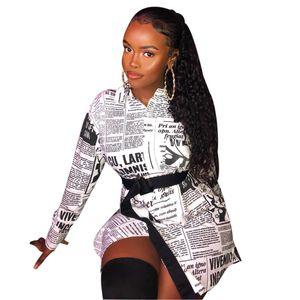 2020 Women's Letter Printing One Shoulder Fashion Long Sleeve Irregular Loose Casual Shirt Short Dress Newspaper Print Button