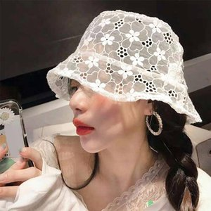 New Lace Hat Women Soft Lace Flower Cap Wide Brim Sun Hats Floppy Summer Hat Dress Ladies