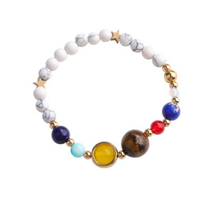New Solar System Eight Planets Bracelets Guarding Stars Natural White Turquoise Beads Lovers Bracelet Bangle Unisex Jewelry Hand Chain Gifts
