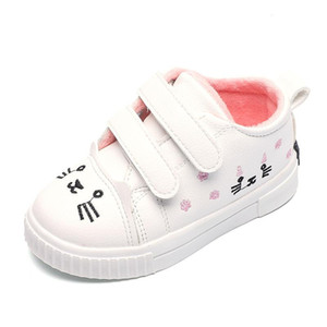 Kids Sneakers For Girls Shoes Autumn winter Children Single Shoes Boys Fashion Casual Cute Cat Plush Velvet White