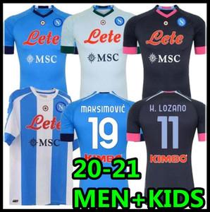 20 21 Napoli Soccer Jersey Nápoles 2020 2021 Koulibaly Camiseta de Fútbol Insigne Milik Maillots H.Lozano Mertens Camisa de Fútbol Hombres + Niños