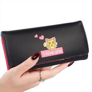 New Women Wallets PU Cuero Lindos Cats Hostp Lady Bolste Billet Tarjetas Tarjetas ID Holder Monesbags Mujeres Largo Clutch Monedero Monedero Bolsas
