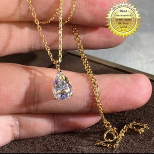 Solid Au750 18K gold Necklace 2ct moissanite Diamond DVVS color With national certificate 008