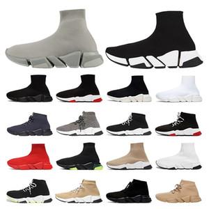 Offerta speciale 2019 Speed Trainer Luxury Brand Scarpe rosso grigio nero bianco Flat Classic Socks Stivali Sneakers Donna Scarpe da ginnastica Runner taglia 36-45