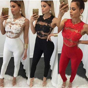 Sexy Patchwork Bodysuits Overalls Sleeveless Lace Patchwork Women Long Jumpsuits Bodycon Women Clothing s-xl large size Bodycon