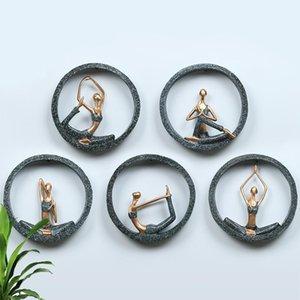 3D Duvar Asılı Yoga Lady Reçine Soyut Heykelcik Yaratıcı Bayan Kız Modeli Yoga Stüdyo Oda Dekor Için Düğün Dekorasyon