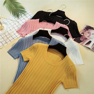 New Knitted Rib Summer T Shirt Women Casual Short Sleeves T Shirt Breathable Elasticity Kintwear Top O Neck Female Tshirt D00501