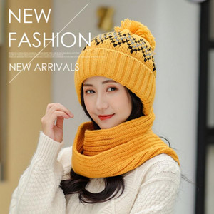 Women Hat And Scarf Set Wool Winter Knitted Winter Warm Snow Ski Cap