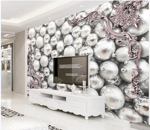 3D column jewelry pearl wallpapers metal embossed TV background wall modern wallpaper for living room