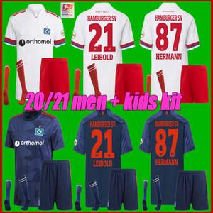 20 21 Hamburger SV Home Away Soccer Jerseys Kittel Leibold Dudziak Terodde 20 21 Hamburger SV CamiSas De Futebol Мужские детские футболки