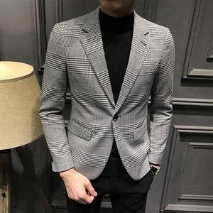 2020 Blazer a plaid da uomo Blazer Kaki Blazer Blazer Atto di regolazione fine indossare Homme Atsire Uomo Verifica Giacca di Abito Novizio DCP7