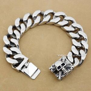 Huge and Heavy Punk Rocker Fashion Bracelet Solid 316L Stainless Steel Cool Men's Biker Domineering Skull Bracelet 5Q013