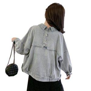 Мода женская джинсовая куртка Новая весна осень светло-голубой короткие джинсы пальто верхняя одежда женщины плюс размер повседневная одежда мотоцикла