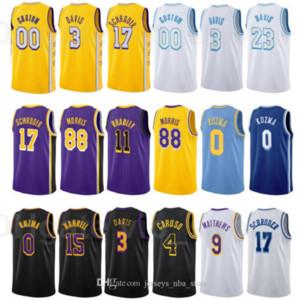 Print City Verdienter Ausgabe Basketball Montrezl Harrell Jersey 15 Dennis Schroder 17 Alex Caruso 4 Kyle Kuzma 0 Gelb weiß schwarz lila