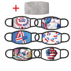 American Election Supplies Face Mask Fashion US Flag Independence Day Printing Washable Reusable Masks With 1 PM2.5 Filter OWE2848
