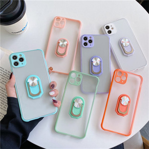 Phone Case with holder For iPhone 6 7 8 plus X 11 12 Pro Max X XR XS Max 7Plus Contrast Color Frame Matte Hard TPU+PC Protective 10 colors