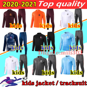 20 21 Real Madrid Jacket kids Kit Soccer Jerseys 2020 2021 HAZARD SERGIIO RAMOS BENZEMA Tracksuit Child Suit Football Training jogging set