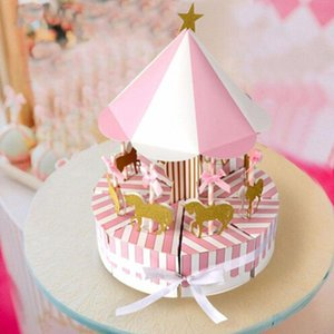 Creative DIY Paper Carousel Gift box wedding favors souvenirs for guests party Baby Shower cake kids Gift decoration