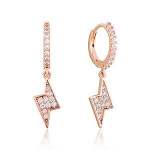 Men Women Personality Earrings Gold Silver Color Ice Out BlingCZ Stone Light Earrings for Men Women Nice Gift