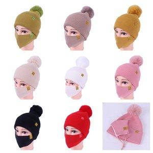 Womens Girls Knit Beanie Beanie Chapéus de Inverno Com Máscara Face Botão Máscaras De Malha Conjunto Pom Gorros Esqui Ao Ar Livre Ciclismo Esporte Slouchy Headwear E111903