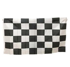 High Quality 3 * 5FT 90cm * 150cm Doppel genähtes Schwarz weißes Quadrat-Checkered Rennwagen-Flagge für Dekoration DHL FEDEX geben