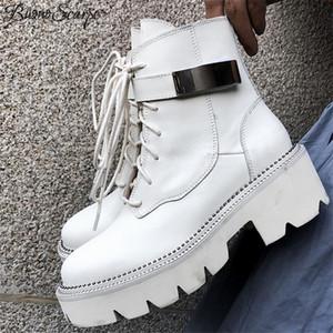 Buono Scarpe Mesdames Chaussures Femmes Bottes Botas Botas Mujer Véritable Cuir Véritable Chaussures Noires Black Métal Perles Bottillons Semelle épais