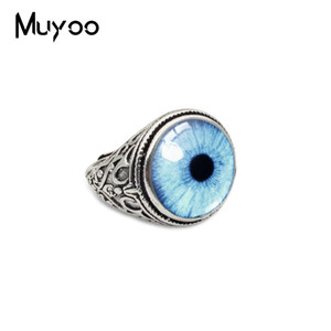 Vintage Cat Eyes Dragon Eyes Patterns Glass Cabochon Dome Fashion Domeen Rings Handmade Jewelry Antique Rings Women Men Jewelry