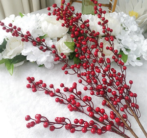 Simulación 3 Fork Bayas Rojas Fortuna Frutos Frutos Lucky Fruit Artificial Plantas Props Home Living Room Flores Decorativas 90cm 55cm