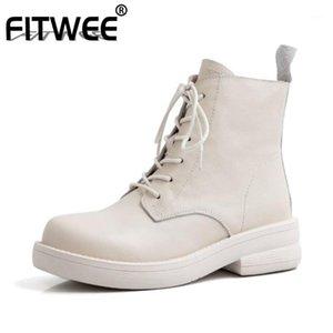 Fitwee Women Boots Boots Натуральная Кожа Кружева Удар Женщина Короткие Ботинки Мода Повседневная Женская Обувь Ежедневная Обувь Размер 34-391