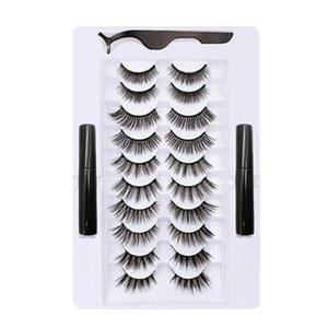 10 Pairs Magnetic Eyelash False Eyelashes Waterproof Long Lasting Eyelash Extension Magnetic Liquid Eyeliner Set