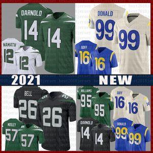 2020 nouveau 99 Aaron Donald 16 Jared Goff Football Jersey 14 Sam Darnold 26 Le'veon Bell 12 Joe Namath 57 C.J. Mosley Quinnen Williams Jerseys