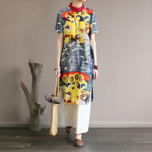 Improved Republic of China style womens dress with Chinese inclined placket buckle long printed cotton Drop Shipping