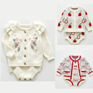Baby Clothes Set 2020 Autumn Winter Boys Girls Flower Embroidery Knit Cardigan and Knit Bodysuits Toddler Infant Cotton Sweaters Y1113