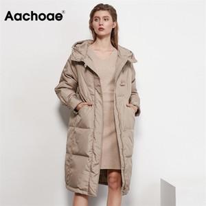 Aachoae Autumn Winter Long White Duck Down Coat Women Long Sleeve Loose Casual Hooded Puffer Jacket Outerwear Femme Veste 201214