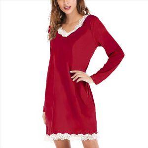DIHOPE Ladies V Neck Long Sleeve Dress Fashion Lace Patchwork Vestidos Loose Homewear Summer Casual Women Dresses 2020 Spring