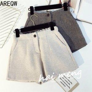 Areqw otoño invierno cintura elástica cintura calientes shorts mujeres botón sólido ancho-pierna pantalones cortos más tamaño femenino moda coreano shorts z1205