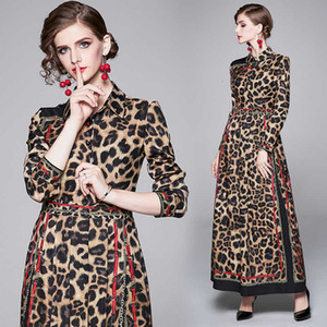 New 2020 Runway Luxury Sexy Leopard Print Designer Women Pleated Maxi Dress Long Sleeve Ladies Lapel Button Casual Work Party Shirt Dresses