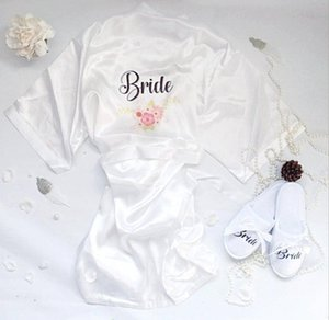 Custom name 3pc set of bride to be floral satin short robe bride slippers bridal sash Bridal Party 2020 to be Gift