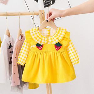Autumn Dresses For Baby Girls Casual Long Sleeve Infant Party Dress Strawberry Plaid Kids Dress Newborn Birthday Dress Z1214