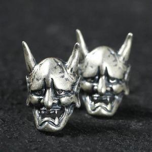 Gothic Style Mask Skull Stud Earrings Punk Prajna Earrings Silver Plated Retro Men Women Party Hip Hop Jewelry