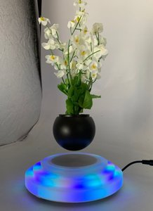 2pcs dhl free shipping led light rotating magnetic levitaiton sucullent air bonsai plant flowerpot for home and business gift